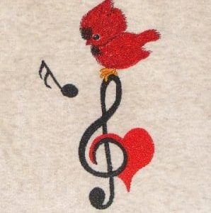 Baby cardinal & music note embroidery