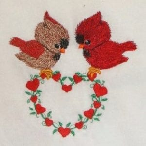 Lovely baby male and female cardinal embroidery design