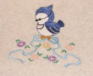 cute blue Bird and lovely bow embroidery
