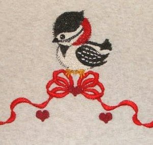 beautiful Bird and lovely bow embroidery