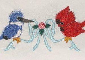 Bird Love and lovely bow embroidery