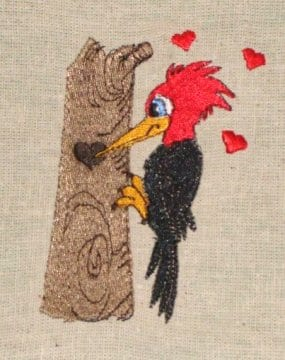 funny Woodpecker embroidery