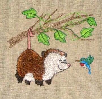 baby possum hanging from a branch embroidery design