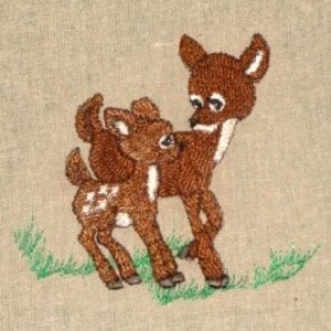 e mom and baby deer embroidery