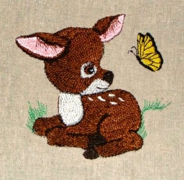 baby deer looking at a butterfly Machine Embroidery