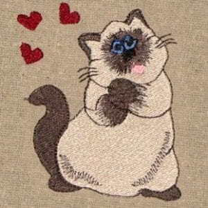 cute cat in love Machine Embroidery design