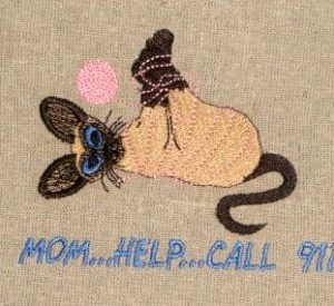 Cats help call Machine Embroidery