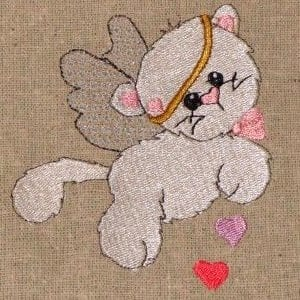 best love cat embroidery design
