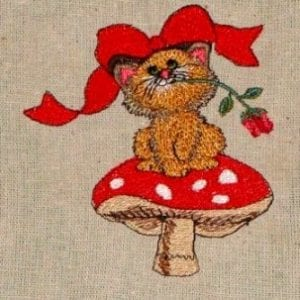 best cat with flower machine embroidery design