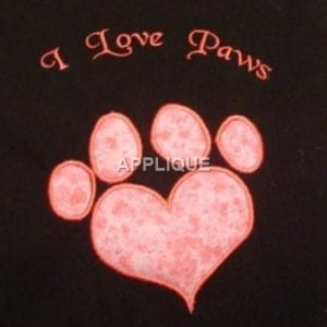 Love Paws embroidery pattern