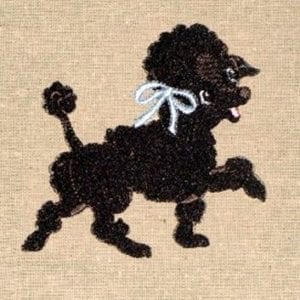 cute black poodle Machine Embroidery