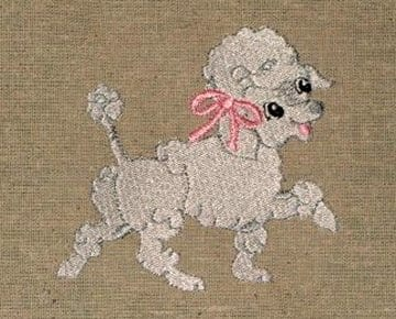 cute white poodle Machine Embroidery