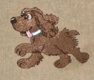 brown puppy running embroidery