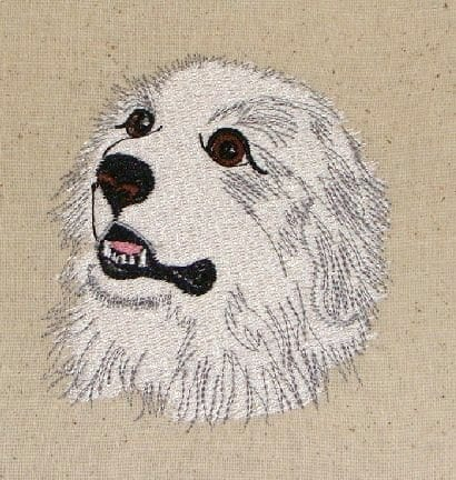 Pretty white Pyrenees Machine Embroidery