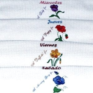 Machine Embroidery Days Of The Week-Spanish Designs