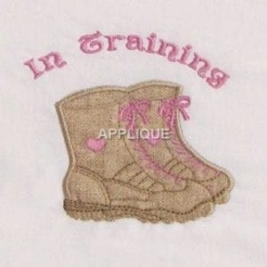 combat boots Machine Embroidery