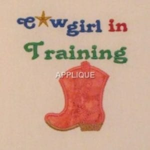 Cowgirl Boots Machine embroidery