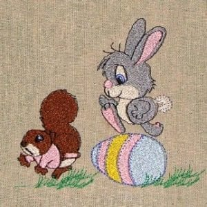 Easter Bunny and Squirrel Machine Embroidery design