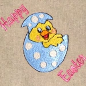 Happy easter duckling machine embroidery design