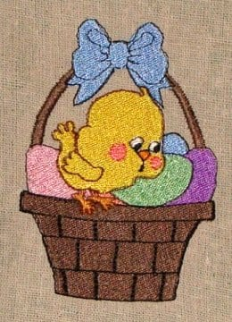 Easter egg chick embroidery designs