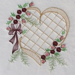 Elegant Heart Crosshatching Roses Machine Embroidery