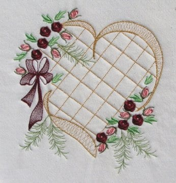 Elegant Heart Crosshatching Roses Machine Embroidery