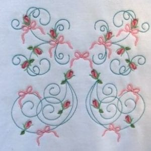 Machine Embroidery Rose Ribbon