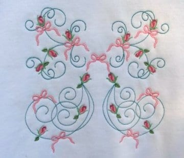 swirls, roses and ribbons embroidery pattern
