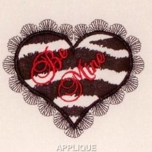 Beautiful Applique heart embroidery design