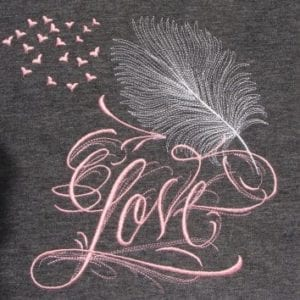 beautiful Love and a feather pen embroidery Pattern