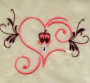 cute bleeding heart flower embroidery design