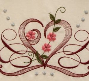 Amazing heart pattern with flowers embroidery