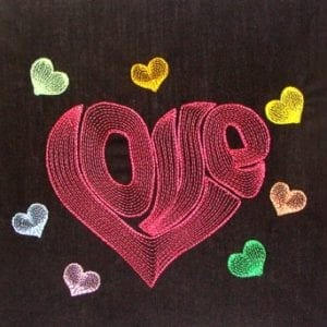 colorful hearts around word Love embroidery design
