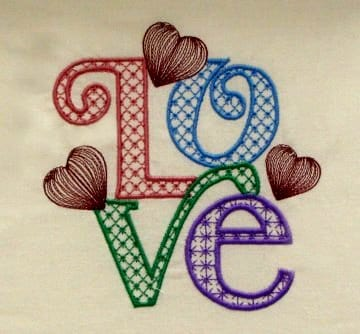 Word Love & heart embroidery pattern