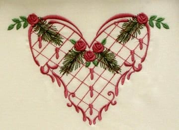 Heart & flower embroidery designs