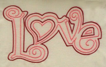 the word Love embroidered in three different sizes and two different thread colors