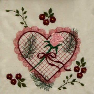 heart with crosshatching fill, scalloped edging, roses and ferns.