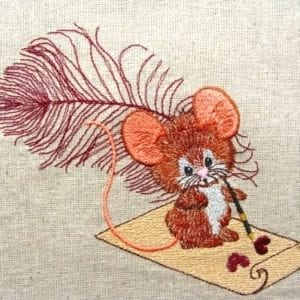 Feather Pen & Mouse Machine Embroidery