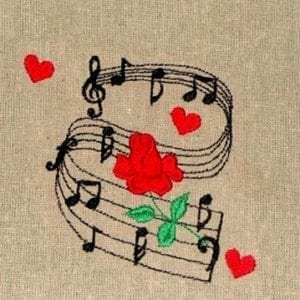 Music notes and rose embroidery