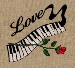 piano & rose embroidery design