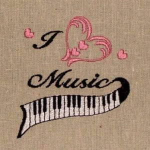 i love music embroidery design