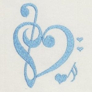 Music Note forms a heart embroidery design