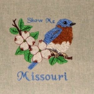 State Birds and Flower The Show Me State Missouri Embroidery