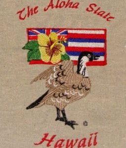 State Bird and Flower The Aloha State Hawaii Embroidery design