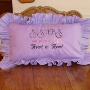 Sisters Love Machine Embroidery Pillow
