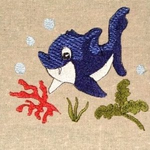 shark swimming in coral Machine Embroidery