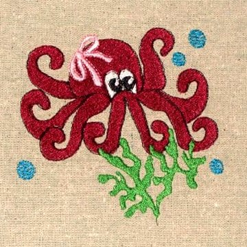cute red octopus embroidery design