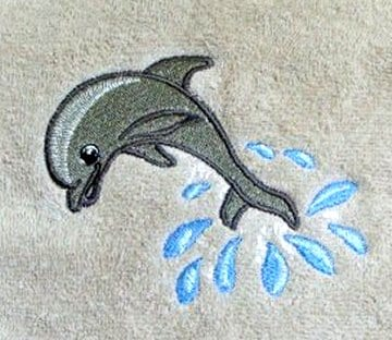 Dolphin jumping out for a dive Machine Embroidery