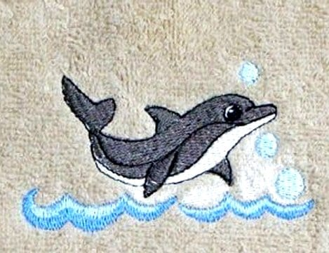 Little Dolphin jumping waves embroidery