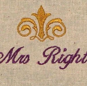 mrs right embroidery